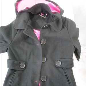 JouJou Girls Peacoat Sz XL Black Pink Hooded